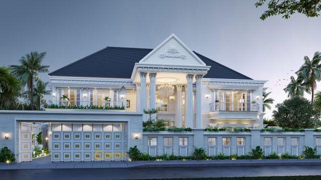 Desain Rumah Classic 2 Lantai Bapak Fariz di Pontianak