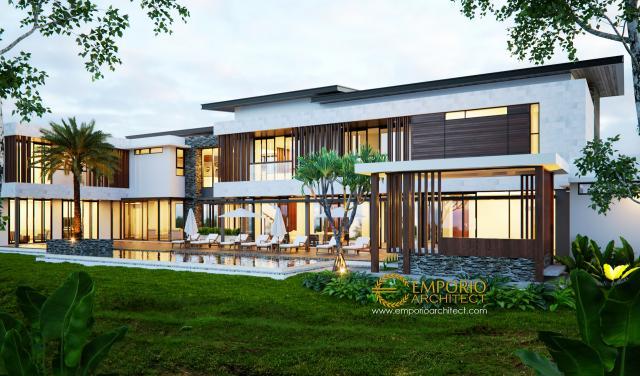 Desain Tampak Belakang Villa Modern 2 Lantai Bapak Jafar di Purwakarta