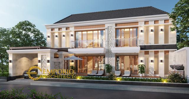 Desain Tampak Depan 1 Rumah Villa Bali 2 Lantai Bapak Freddy di Seminyak, Badung, Bali