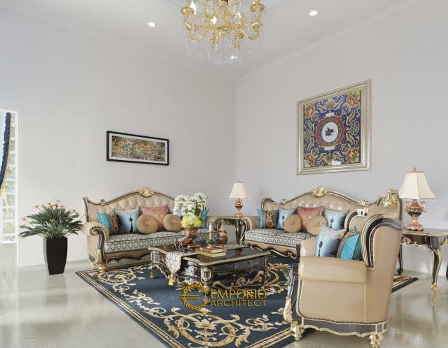 Desain Ruang Tamu Rumah Classic 2 Lantai Bapak Baron di Sentul, Bogor