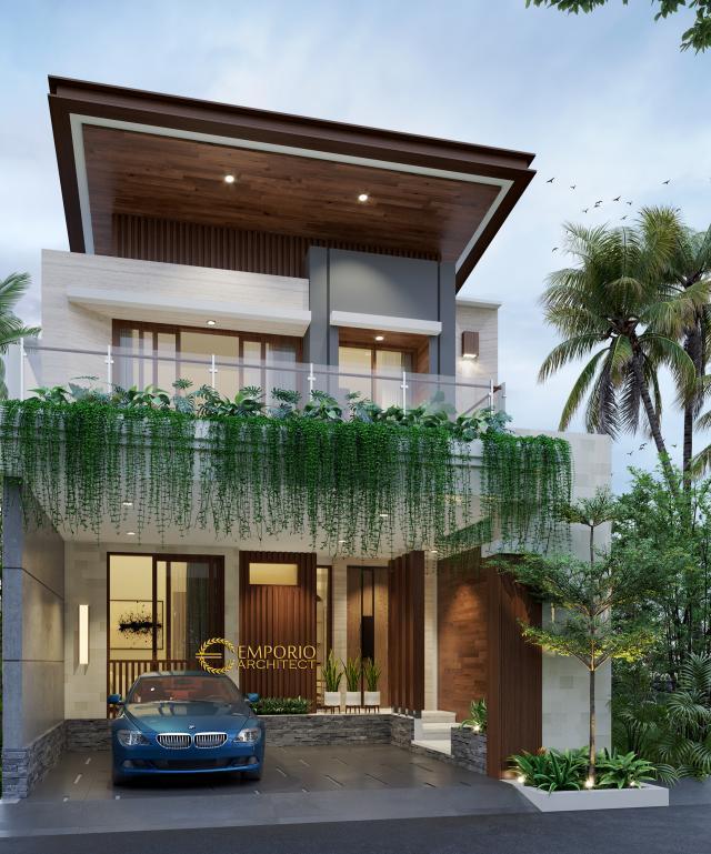 Desain Tampak Depan Rumah Modern 3 Lantai Bapak Adam di Serpong, Banten