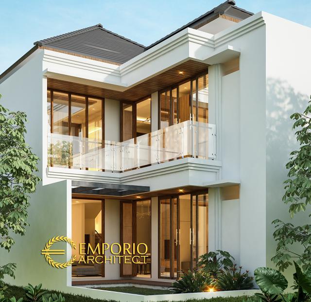 Desain Tampak Belakang Rumah Villa Bali 2 Lantai Bapak Fahmi di Sidoarjo, Jawa Timur