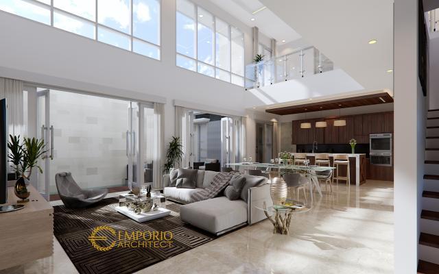 Desain Ruang Keluarga Rumah Modern 2 Lantai Bapak Hence di Sukoharjo, Jawa Tengah