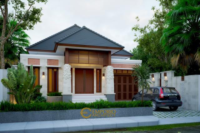 Desain Tampak Depan Rumah Villa Bali Tropis 1 Lantai Bapak Ammal Rozib di Sumatera Selatan