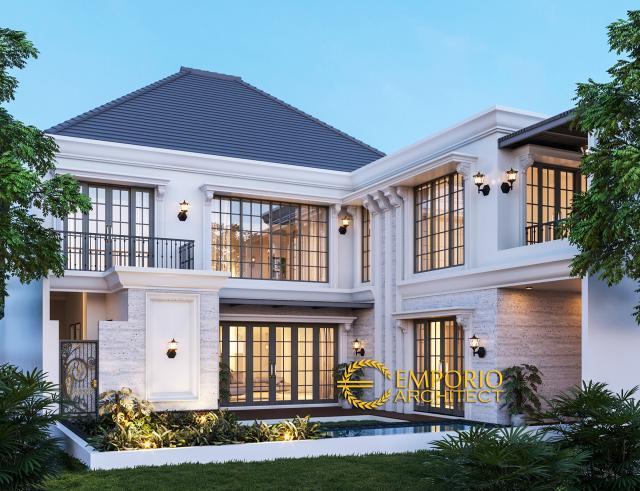 Desain Tampak Belakang Rumah Classic 2 Lantai Bapak Andy di Surabaya