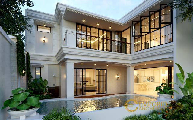 Desain Tampak Belakang Rumah Classic 2 Lantai Bapak Yevni di Tangerang, Banten
