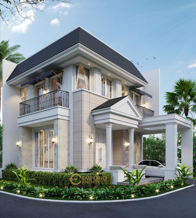 Desain Tampak Depan 1 Rumah Hook Classic 2 Lantai Bapak Oscar di Tangerang, Banten