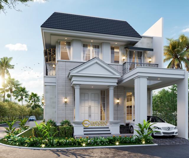 Desain Tampak Depan 2 Rumah Hook Classic 2 Lantai Bapak Oscar di Tangerang, Banten