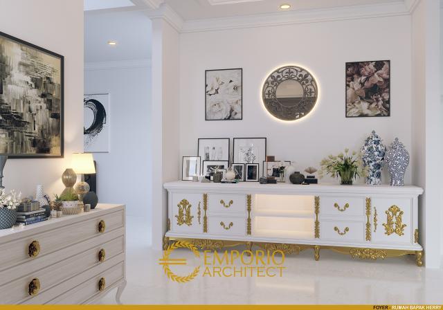 Desain Lobi Rumah Classic 3 Lantai Bapak Herry di Tangerang, Banten