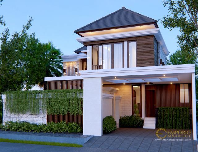 Desain Tampak Depan Rumah Villa Bali 2 Lantai Bapak Rio di Ciputat, Tangerang Selatan