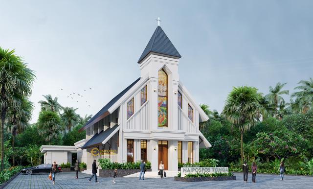 Desain Exterior 2 Gereja Naipospos Tonga Classic 2 Lantai di Tapanuli, Sumatera Utara