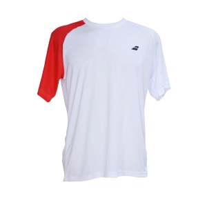 Camiseta Babolat Performance Man Branca e Vermelha