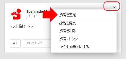 Google+固定投稿設定