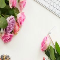 Desk and Pink Flowers