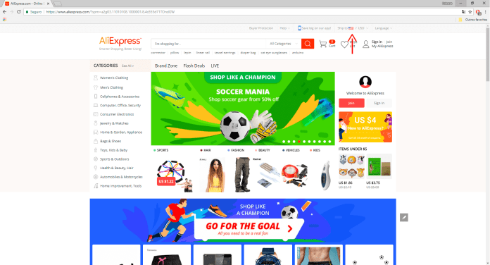 AliExpress alterar idioma