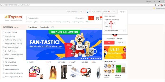 Alterar linguagem do site para AliExpress pt