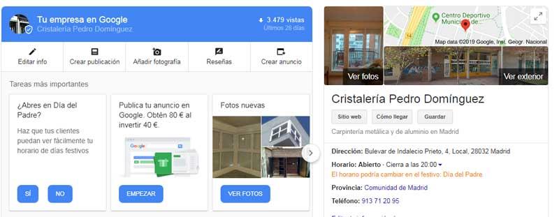 Resultados Búsqueda Google Business