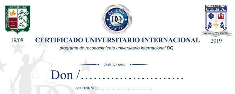 Certificado universitario internacional Esneca