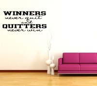 WINNERS NEVER QUIT ~ Sports Vinyl Wall Quote Decal Sticker ...