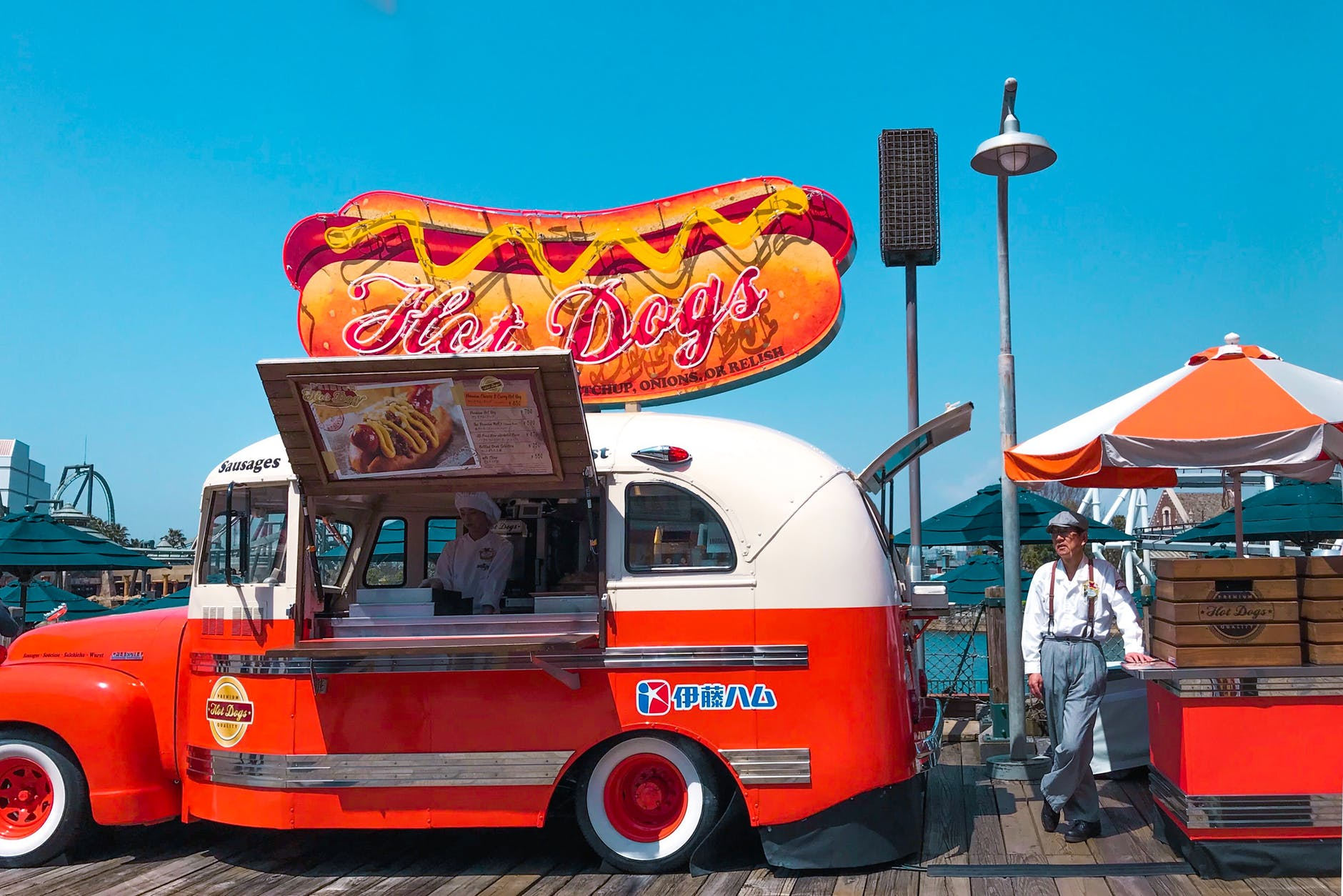 a classic hot dog food cart