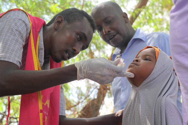 More than 450 000 people were vaccinated in the first round of Somalia's first national oral cholera vaccination campaign (OCV) in March 2017. The campaign focused on reaching vulnerable people living in 7 high-risk areas around the country and is one of the largest oral cholera vaccination campaigns conducted in Africa. It is the first national OCV campaign to be conducted in the country.