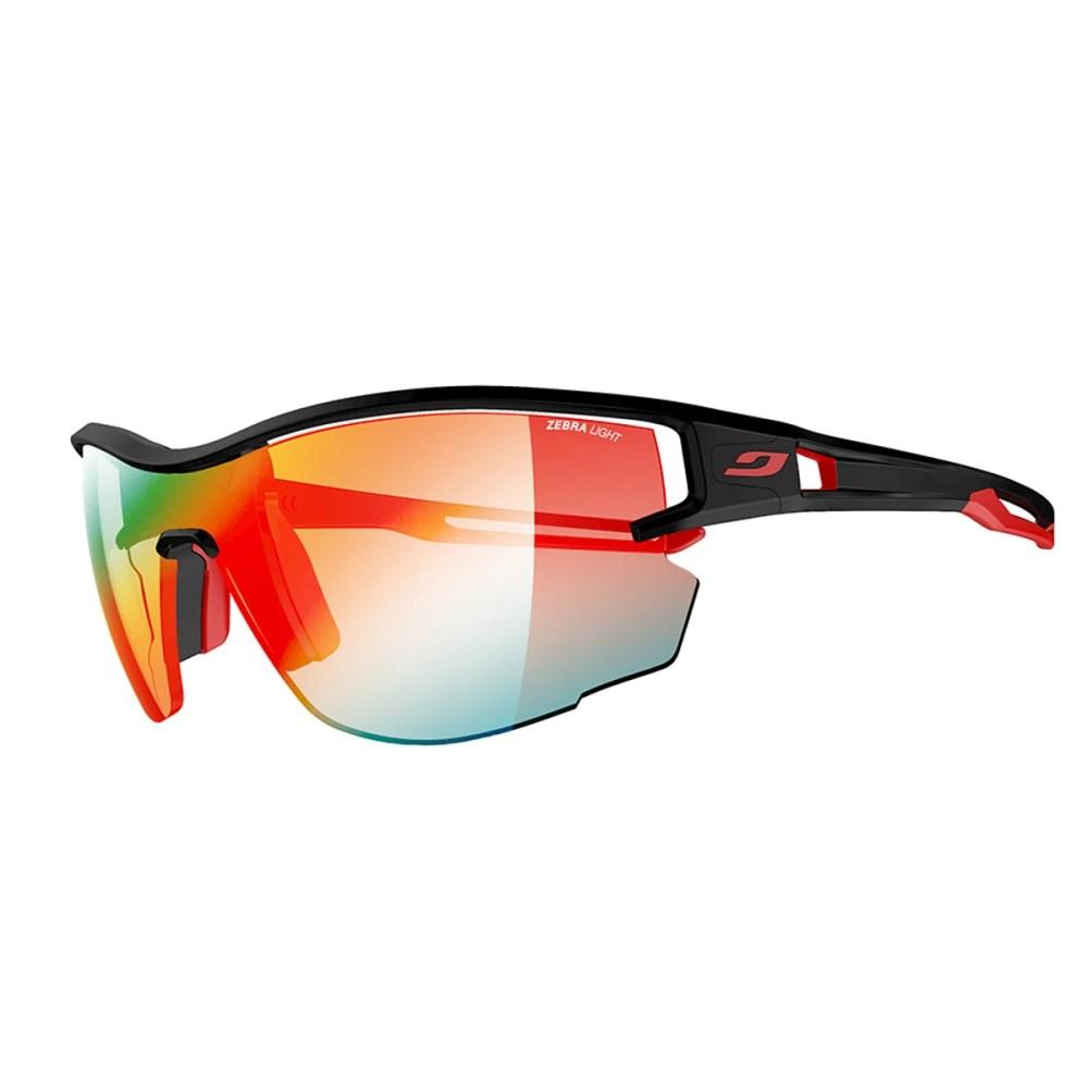 JULBO Aero Sunglasses with Zebra Light Fire. Black/Red - Eastern Mountain Sports