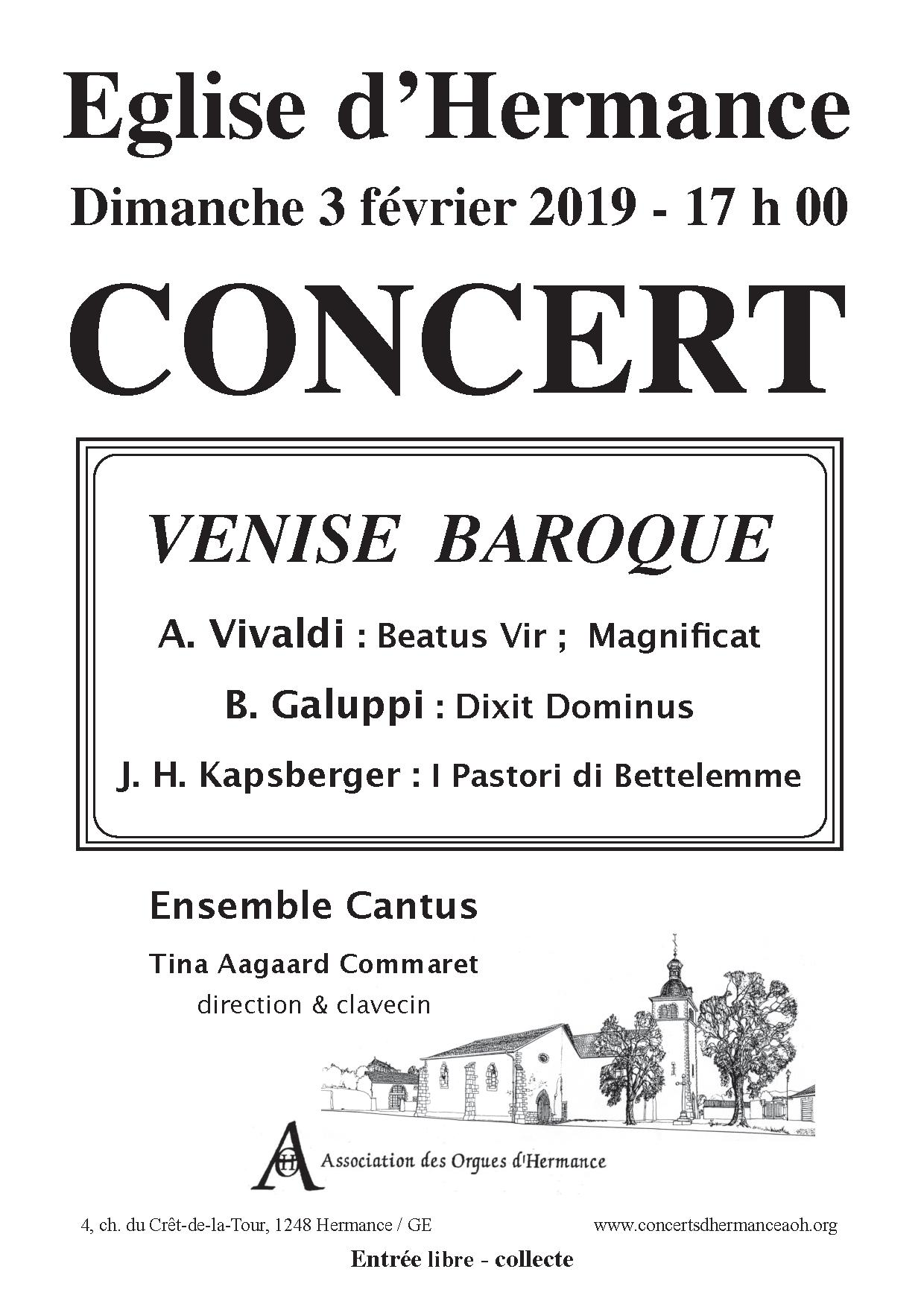 Concert de l'Ensemble Cantus le dimanche 3 février à l'église d'Hermance