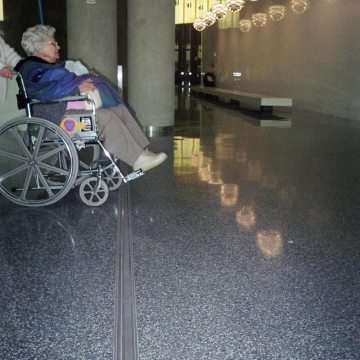 Airport floor expansion joint: Wheelchair traffic over Migutrans at Tampa International Airport.