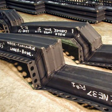 Each weld is reinforced top and bottom and all segments labeled for specific location.