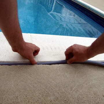 Colorseal-On-A-Reel has proved suitable for small joints in the horizontal plane as well. Here is a swimming pool perimeter, COR replaces failed liquid sealant.