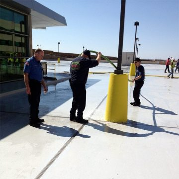 Water testing the central parking garage expansion joints at Will Rogers Airport.