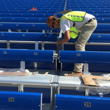 Custom-90's make stadium expansion joint sealing easy to execute while ensuring continuity of seal through tread and riser plane changes.