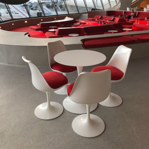 Eero Saarinen tulip table and chairs at TWA Hotel - Expansion joints Emseal