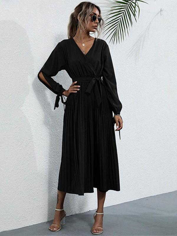 shestar wholesale open sleeve pleat maxi tie dress