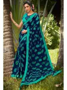 blue color designer georgette saree