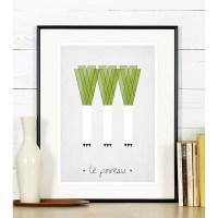 Kitchen art print - Leeks - EMU Gallery