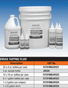 Emuge tapping fluid is designed primarily for manually applied applications on metals that are difficult to machine such as stainless steel inconel also corporation rh