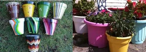 Cómo pintar macetas de plástico con pintura acrílica