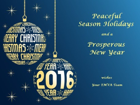 merry christmas and happy new year 2016 greeting card, blue background with place for text, hanging gold christmas balls with text