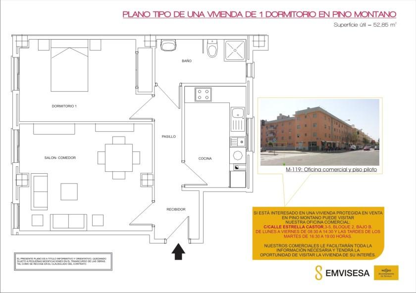 Plano de una vivienda tipo de 1 dormitorio en Pino Montano.