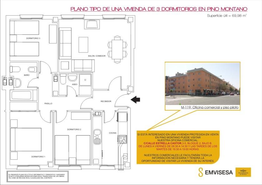 Plano tipo de una vivienda de 3 dormitorios en Pino Montano.