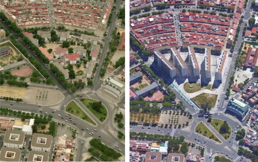 Vistas aéreas de Regiones Devastadas y su evolución a Nuevo Amate.