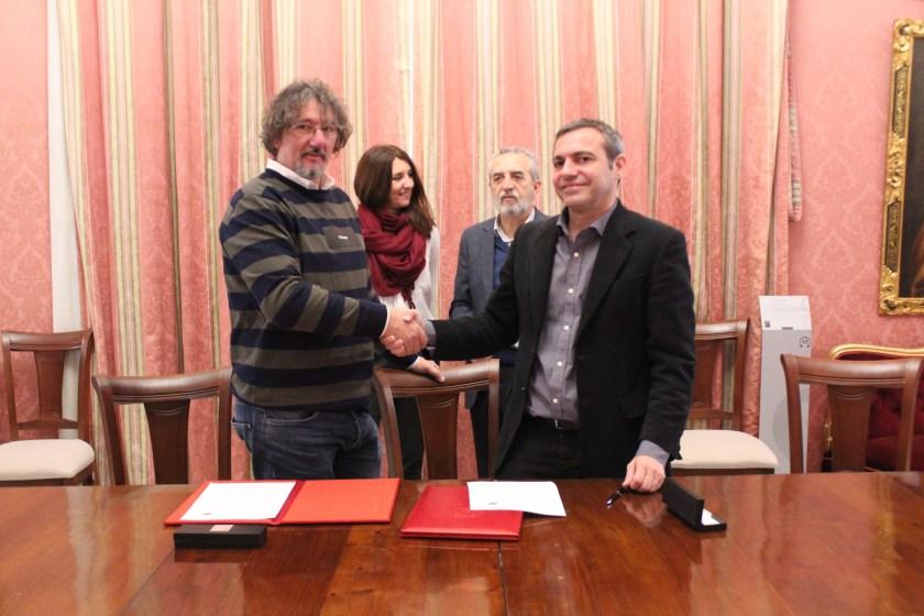 Felipe Castro y Rafael Jorreto en la firma del Convenio el pasado mes de febrero.