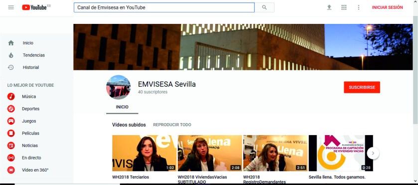Canal YouTube de Emvisesa.