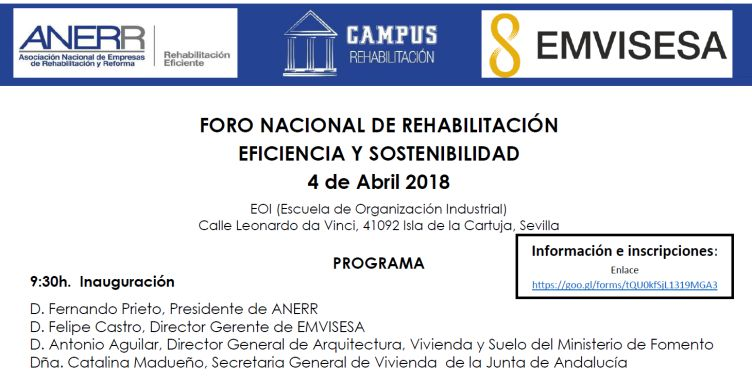 Aún puedes inscribirte en el Foro Nacional de Rehabilitación, Eficiencia y Sostenibilidad que se celebrará mañana en Sevilla