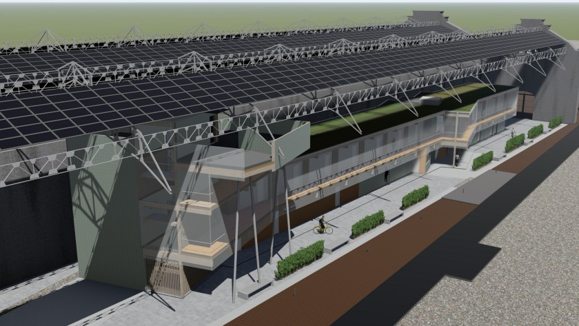 Imagen 3D del edificio modular que se va a introducir en la nave oeste.