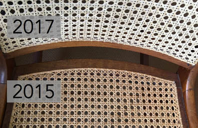 how to cane a chair leg insert caps color matching emza s caning weaving freshly caned back in 2017 vs seat done 2 years prior 2015 and starting darken on its own