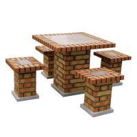 Brick garden table with 4 benches. BragaOvens UK Online Shop