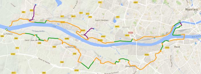 Itinéraire Loire à vélo Nantes Le Pellerin Couëron