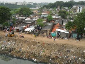 Un bidonville, à Chennai